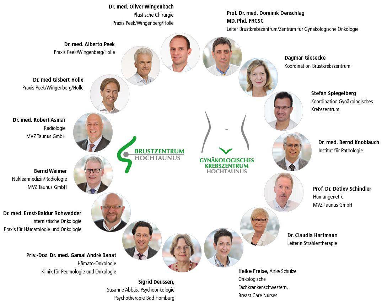 Dieses Bild zeigt eine Grafik, die die Struktur und Kooperationspartner des Brustkrebszentrums und des Gynäkologischen Krebszentrums der Hochtaunus-Kliniken aufführt.
