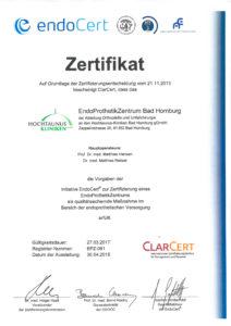 Dieses Bild zeigt das Zertifikat des EndoProthetikZentrums Bad Homburg.