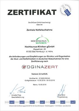Dieses Bild zeigt das Zertifikat der Zentralen Notaufnahme von Diozert.