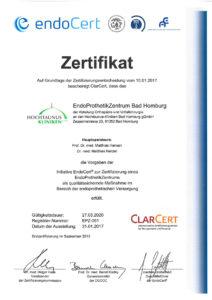 Dieses Bild zeigt das Zertifikat des EndoProthetikZentrums der Hochtaunus-Kliniken.