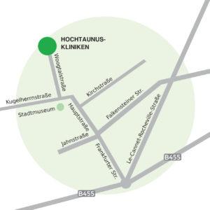 Dieses Bild zeigt den Standort der Hochtaunus-Kliniken in Königstein anhand einer Karte.