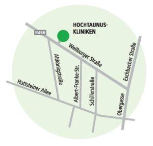 Dieses Bild zeigt den Standort der Hochtaunus-Kliniken in Usingen anhand einer Karte.
