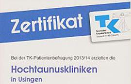Dieses Bild zeigt das Zertifikat der Hochtaunus-Kliniken bei der Techniker Krankenkasse-Patientenbefragung 2013/2014