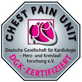Dieses Bild zeigt das Siegel der DGK(Deutsche Gesellschaft für Kardiologie) für die Chest Pain Unit der Hochtaunus-Kliniken.