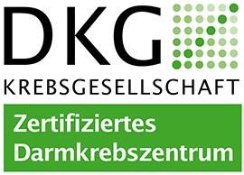 Dieses Bild zeigt das DKG-Siegel für das Darmkrebszentrum der Hochtaunus-Kliniken.