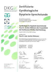 Dieses Bild zeigt das Zertifikat der Gynäkologischen Dysplasie Sprechstunde der Hochtaunus-Kliniken.