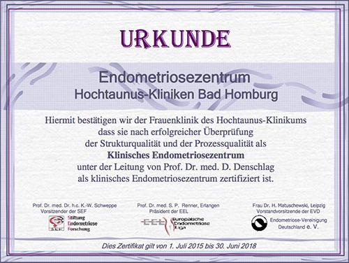 Dieses Bild zeigt die Urkunde für das Endometriosezentrum der Hochtaunus-Kliniken.