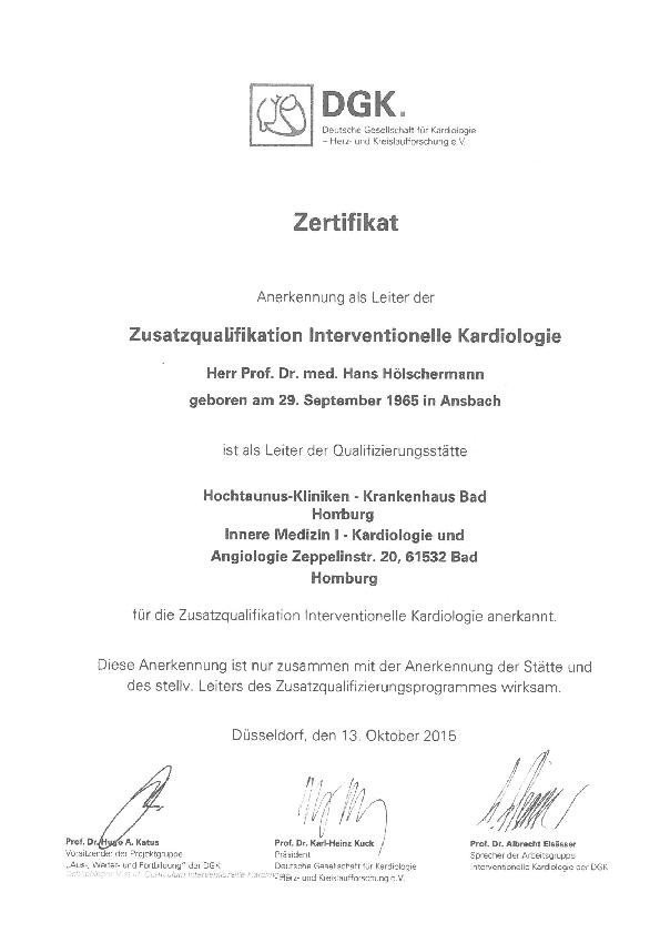 Dieses Bild zeigt das DGK-Zertifikat für die Zusatzqualifikation Interventionelle Kardiologie der Hochtaunus-Kliniken.