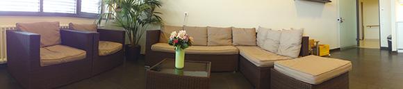 Dieses Bild zeigt einen Teil des Loungebereichs des Kreißsaals. In dem Bereich befinden sich zwei Sessel, ein großes Sofa und in der Mitte einen kleinen Tisch mit einer Blumenvase darauf. In der Ecke des Raumes steht eine Pflanze.