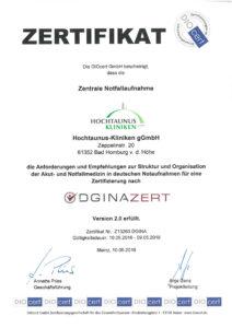 Dieses Bild zeigt das Zertifikat der Zentralen Notaufnahme der Hochtaunus-Kliniken.