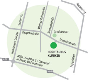 Dieses Bild zeigt den Standort der Hochtaunus-Kliniken in Bad Homburg anhand einer Karte.