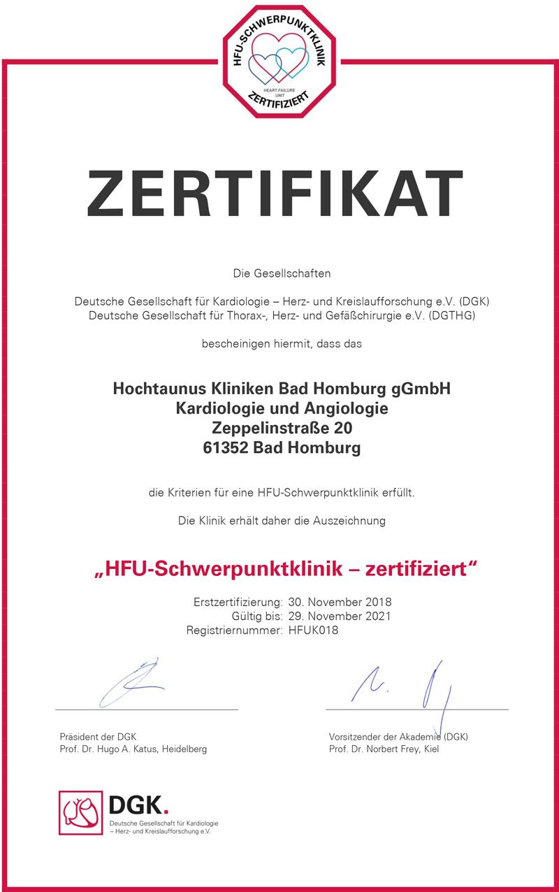 Dieses Bild zeigt das Zertifikat der HFU-Schwerpunktklinik