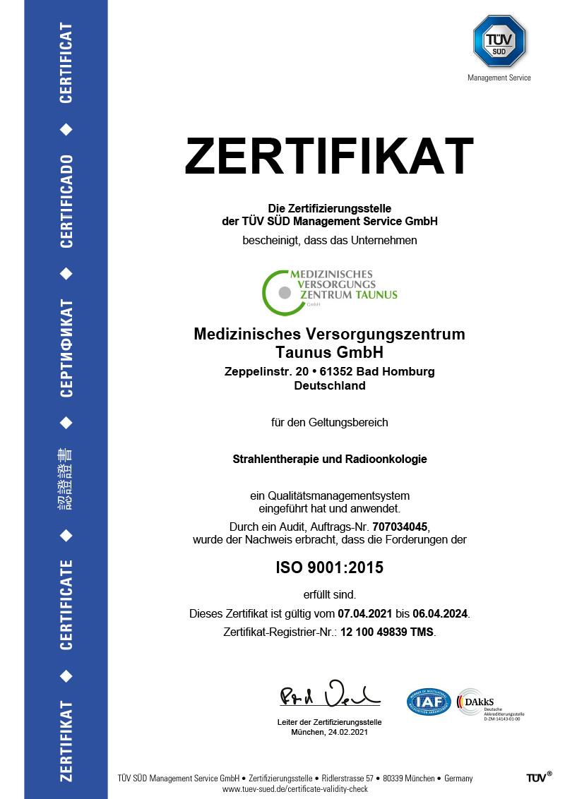 Dieses Bild zeigt das Zertifikat des MVZ Taunus - Strahlentherapie und Radioonkologie.